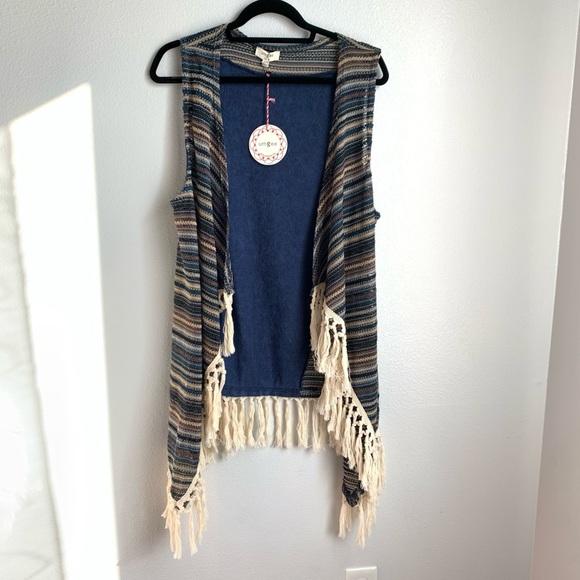 Umgee   Boho Crochet Fringe Duster Cardigan Vest
